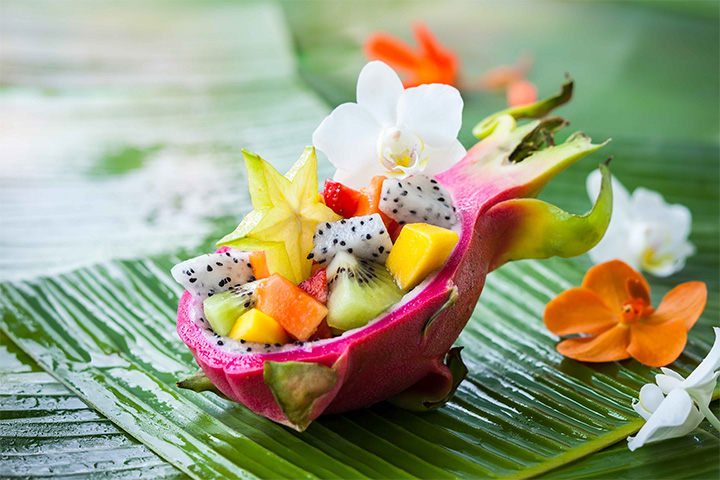 say what? dragonfruit and starfruit salad