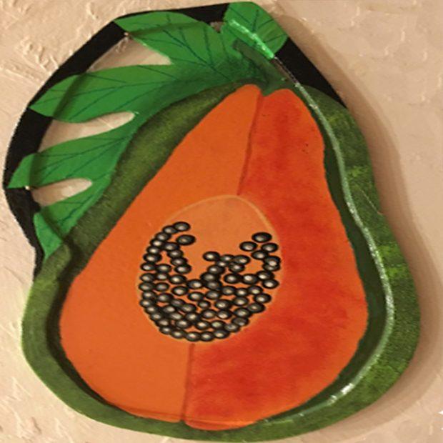 Papaya art, painted and grown