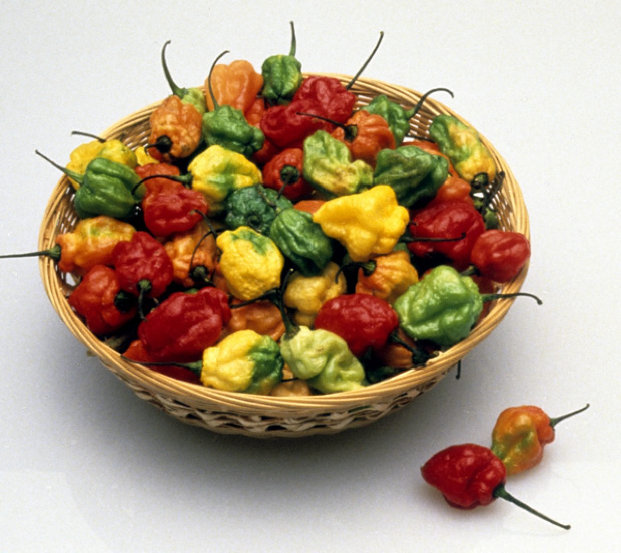 Habanero peppers in a dish